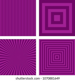 Simple abstract purple striped pattern background set