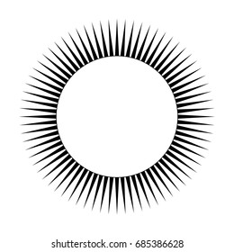 Simple abstract round element, sign or logo. Stylized Sun with triangular rays. Isolated black on white background.