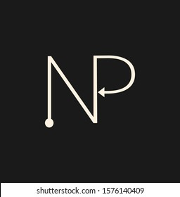 Simple Abstract   Techno Line  Letter N, P, NP,  PN logo icon. Creative vector logo icon design  concept  for initial, business or company identity.