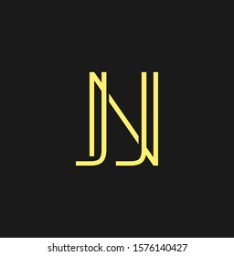 Simple Abstract   Techno Line  Letter N, J, NJ,  JN logo icon. Creative vector logo icon design  concept for initial, business or company identity.