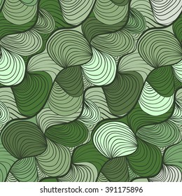 simple abstract waves / lines / hairy / shell in green and olive colors