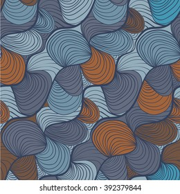 simple abstract waves / lines / hairy / shell in blue and dark orange colors