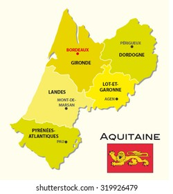 simple administrative map Aquitaine with flag