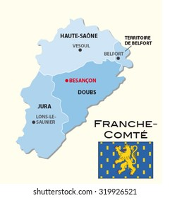 simple administrative map Franche-Comte with flag
