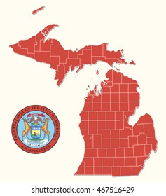 simple administrative and political map with seal of the US Federal State Michigan