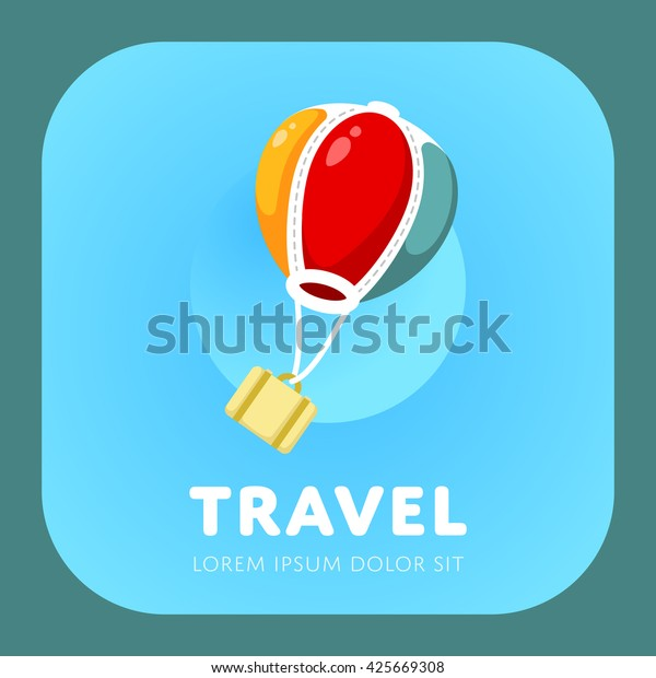 Simple air balloon logo. Air travel sign. Vacation symbol. Vector illustration.