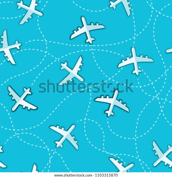 Simple aircraft in sky seamless background.
