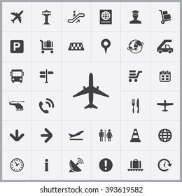 Simple airport icons set. Universal airport icons to use for web and mobile UI, set of basic UI airport elements