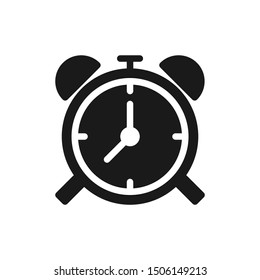 Simple alarm clock icons with clockwise in solid style design on white background. Suitable for deadline, school, website app, user interface and pattern design. Pixel Perfect 48x48. Vector EPS 10