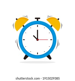 Simple Alarm Clock Illustration Vector Design, Flat Blue Yellow Alarm Clock on White Background