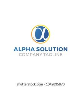 Simple Alpha Solution Logo Design Idea