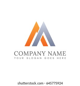 Simple Alphabet AA M Triangle Unique Logo For Business. Vector Isolated.