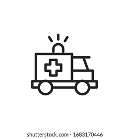 Simple ambulance line icon. Stroke pictogram. Vector illustration isolated on a white background. Premium quality symbol. Vector sign for mobile app and web sites.