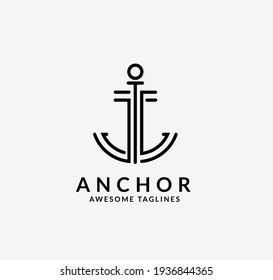 simple anchor lines logo vector idea