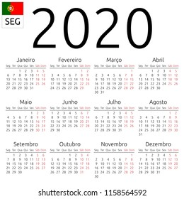 Simple annual 2020 year wall calendar. Portuguese language. Week starts on Monday. Saturday and Sunday highlighted. No holidays highlighted. EPS 8 vector illustration, no transparency, no gradients