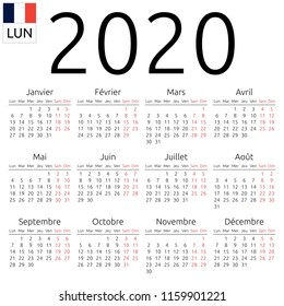 Simple annual 2020 year wall calendar. French language. Week starts on Monday. Saturday and Sunday highlighted. No holidays highlighted. EPS 8 vector illustration, no transparency, no gradients