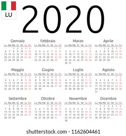 Simple annual 2020 year wall calendar. Italian language. Week starts on Monday. Saturday and Sunday highlighted. No holidays highlighted. EPS 8 vector illustration, no transparency, no gradients
