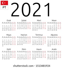Simple annual 2021 year wall calendar. Turkish language. Week starts on Monday. Saturday and Sunday highlighted. No holidays highlighted. EPS 8 vector illustration, no transparency, no gradients