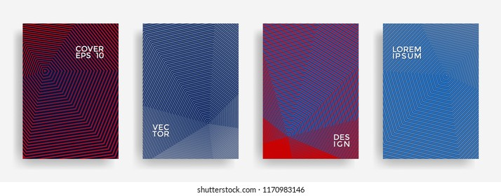 Simple annual report design vector collection. Halftone stripes texture cover page layout templates set. Report covers geometric design, business booklet pages corporate backgrounds.
