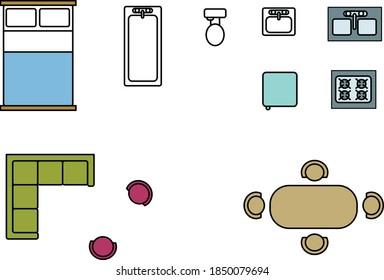 icônes d'appartement simples pour la configuration de l'architecture