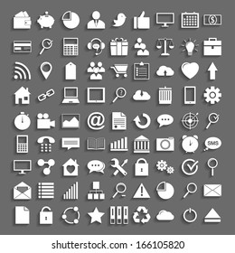 Simple application icons in Flat Design with shadow.