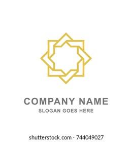 Simple Arabic Islamic Ornament Gold Logo Vector Icon