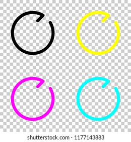 Simple arrow, update, reload, clockwise direction, forward. Navigation icon. Linear symbol with thin line. One line style. Colored set of cmyk icons on transparent background