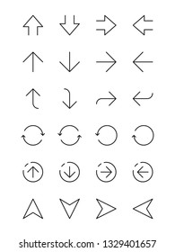 Simple arrows. Ui interface navigation thin line arrows left right up down vector infographic elements