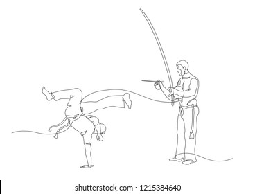 Simple art line of capoeira fighter and man playing on berimbau. Contour Isolated on white. vector illustration