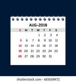 Simple August calendar for 2018 year. Week starts from Sunday.