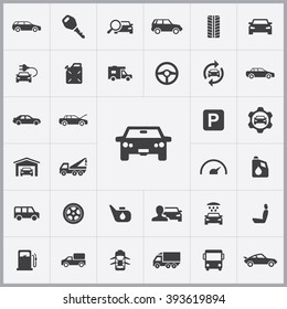 Simple auto icons set. Universal auto icons to use for web and mobile UI, set of basic auto elements
