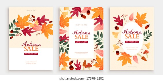 Simple autumn foliage cover in hand drawn style, applicable to event or sale promotion