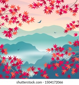 Simple autumn  landscape with foggy mountains, and red Japanese maple branches. Nature background with serenity oriental scene. Vector flat illustration.