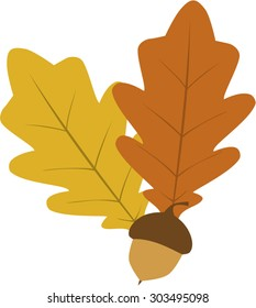 Simple autumn oak leaves and acorn