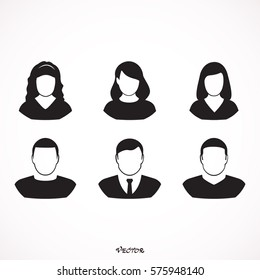 Simple avatar icons of various business people.  Icon Isolated on White Background