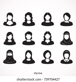 Simple avatar icons of various business women. Icon Isolated on White Background