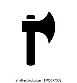 Simple axe icon design, black axe silhouette, wood logging concept - Vector