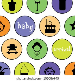 simple baby arrival background with rounded icons