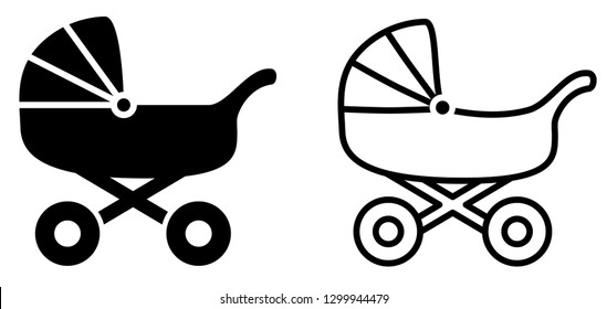 Simple baby carriage icon, black and white version