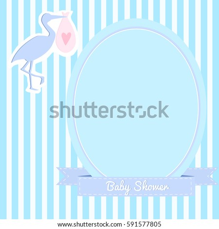 Simple baby shower invitation stork striped stock vector royalty simple baby shower invitation with a stork striped background blue and violet colors filmwisefo