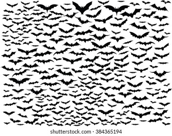 Simple background of bats flying around