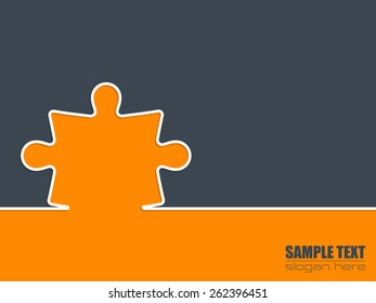 Simple background design with puzzle shape and text