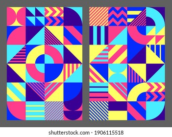 Simple background geometric shapes lines Colorful. Universal abstract seamless pattern design in scandinavian style for cover, printing, posters, web, wallpapers, tiles. Vector illustration.