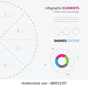 simple background pie chart, graph with text / vector infographic circle template