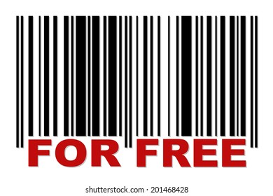 Simple barcode with red label FOR FREE