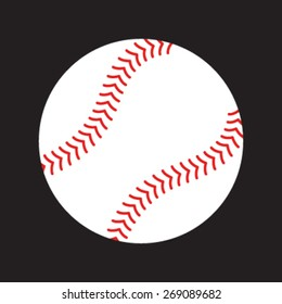 Simple Baseball with Red Stitches vector icon