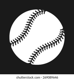 Simple Baseball with Stitches vector icon