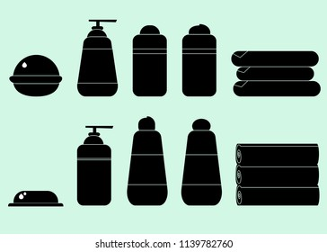 Simple bathroom set icons: soap, shower gel, shampoo, hair balm, hair mask, towels,lotion, cream. Isoleted black and white vector illustration