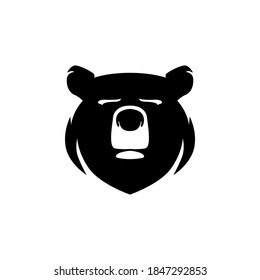 Simple bear head logo in silhouette vector