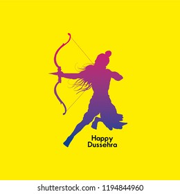 Simple and beautiful abstract for Happy Dussehra with nice and creative illustration of Lord Ram.  Happy Dussehra.